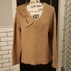 Kate Spade V neck Tan Bow Detail Sweater